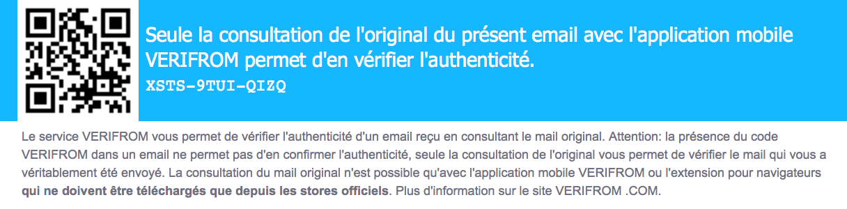 identifiant email VERIFROM